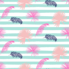 Pink banana palm leaves seamless vector pattern on striped blue background. Tropical banana jungle leaf.