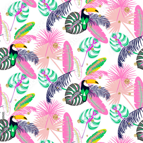 Monstera tropic pink plant leaves and toucan bird seamless pattern. Exotic nature pattern for fabric, wallpaper or apparel. - 119389610