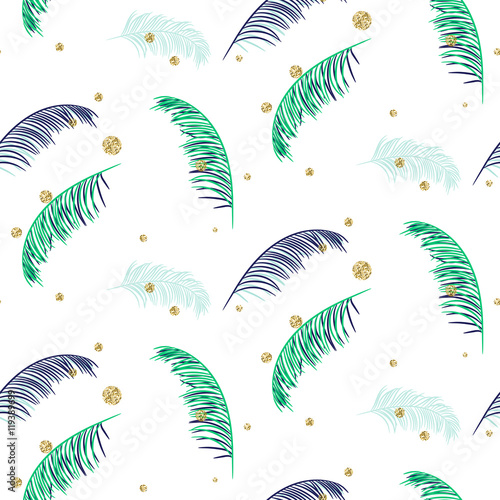 Blue and green palm leaves seamless vector pattern on white background. Tropical banana jungle leaf. - 119389699