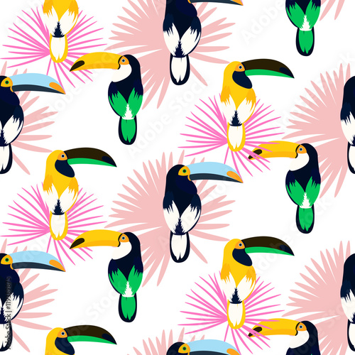 Tropic light pink plant leaves and toucan bird seamless pattern. Exotic nature pattern for fabric, wallpaper or apparel. - 119389875