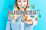 Business concept with young woman
