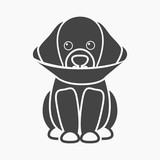 Sick dog vector icon in black style for web