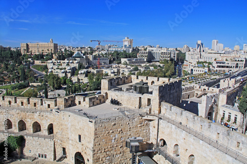 Plakát View of the city of Jerusalem from the top of the Jerusalem Citadel or Tower of David