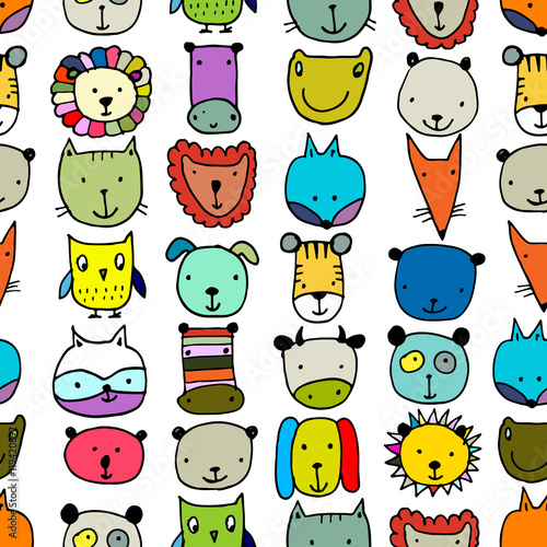 Cotton fabric Set of animal faces, sketch for your design