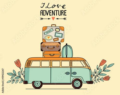 Vector illustration of vintage bus with baggage