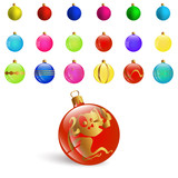 Illustration New Year Bckground with Set Colorful Christmas Ornamental Balls