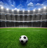 Soccer ball on green stadium - 119434607