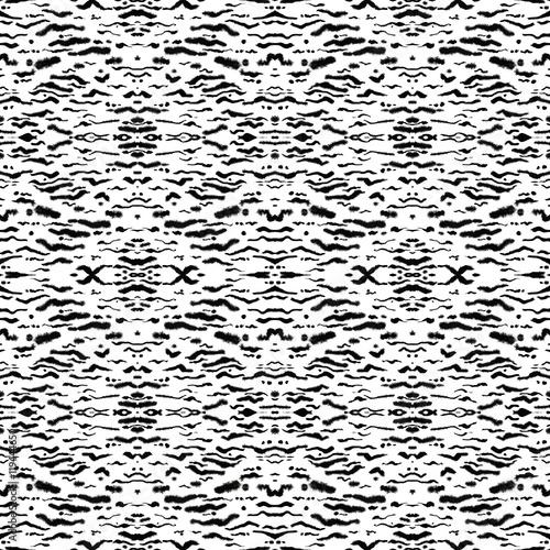 Ethnic seamless background.Seamless ethnic kaleidoscope pattern. Beautiful watercolor geometric print, horizontal layout, faux ikat, black on white background. - 119444650