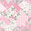 decorative patchwork floral pattern with roses in pastel colors