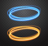 Fototapety Round light trails vector special effects set with transparency isolated on checkered background. Colorful glowing blue and orange rings design elements for decoration