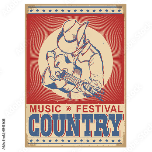 Aluminium Vintage Poster music festival background with musician playing guitar.