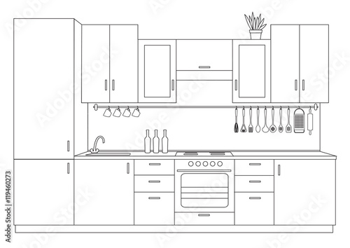 Fototapeta Architectural linear sketch interior small kitchen front view