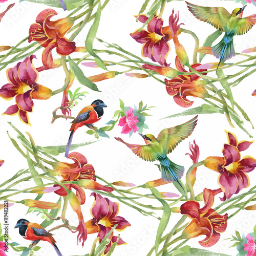 Materiał do szycia Watercolor hand drawn seamless pattern with tropical summer flowers and exotic birds