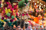 Christmas market. Decorations made of natural materials. - 119484212