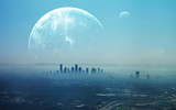 Fototapety View of Futuristic City. This image elements furnished by NASA