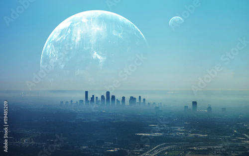 View of Futuristic City. This image elements furnished by NASA © Vadimsadovski
