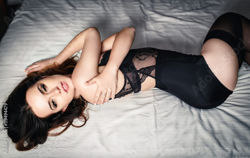Plakat Beautiful girl in a black sexy lingerie