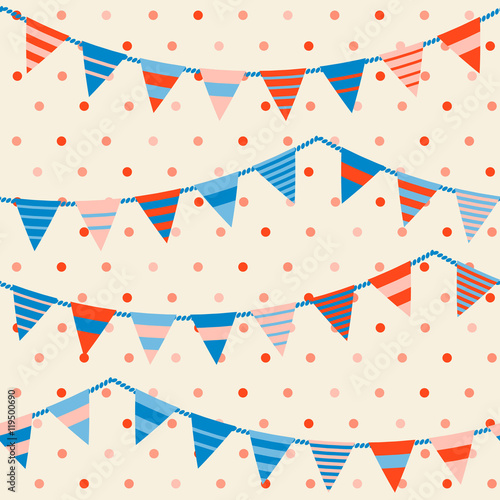 Cotton fabric Colorful pattern with bunting and garland