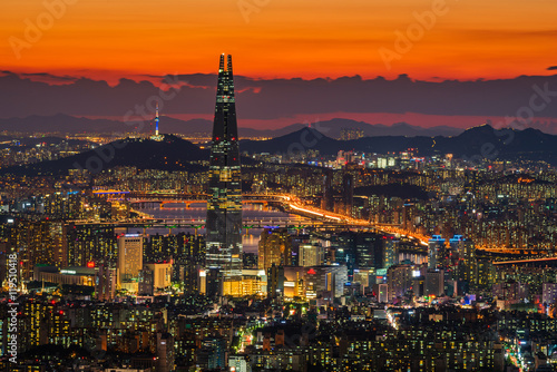 Foto op Aluminium Crimson Seoul City Skyline, The best view of South Korea.