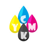 CMYK color profile icon in cartoon style isolated on white background. Paint symbol