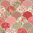 seamless floral patchwork pattern with red roses