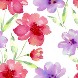 Fototapety Seamless watercolor pattern with flowers
