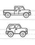 Cars coloring book for kids. Pickup, 4WD