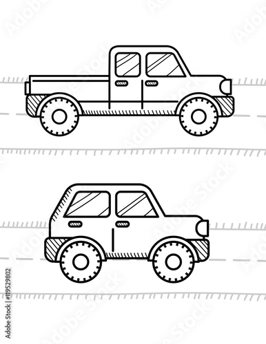 Papiers peints Cartoon draw Cars coloring book for kids. Pickup, 4WD