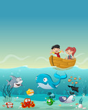 Kids inside a boat at the ocean with fish under water. Cartoon children at the sea.
