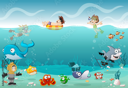 Fototapeta Kids wearing Scuba diving suit and swimming with fish under the sea. Cartoon divers in underwater world with corals.