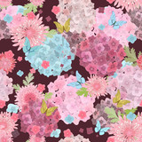 fashion seamless texture with lovely flowers and butterflies. fl