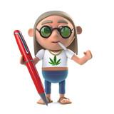 3d Hippie stoner has a pen