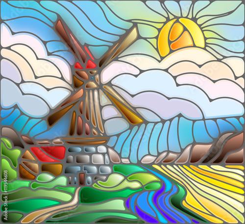 Naklejka The image in the stained glass style landscape with a windmill on a background of sky and sun