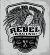 Rebel racing eagle crest shield t-shirt graphic