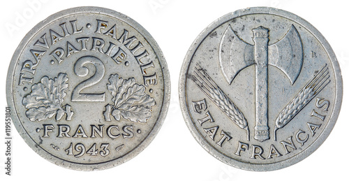 Poster 2 francs 1943 coin isolated on white background, France