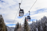 Cabins cableway of ski resort Laax. Switzerland