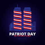Vector illustration to the patriot day in America. 9 September 2011. We will never forget.