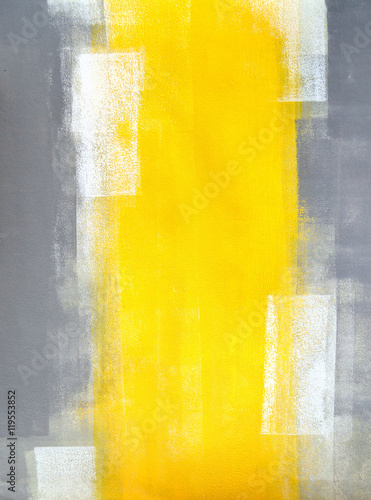 Grey and Yellow Abstract Art Painting - 119553852