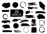 Fototapety Set of hand drawn brushes and design elements. black paint, ink brush strokes. Grunge circle, square. Artistic creative shapes. Vector illustration.
