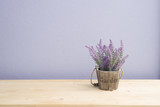 Fototapety Wood table with purple lavender flower on flower pot and  purple cement wall.
