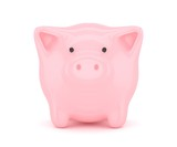 Pink shiny piggybank on white background. Concept of investment, savings and more. 3D rendering.