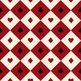 Card Suits Red Burgundy Cream Beige Black White Chess Board Diamond Background Vector Illustration. - 119586445