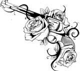 pistola con rose