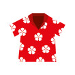 Cotton fabric shirt hawaiian flowers red vector illustration eps 10