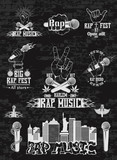 Vector set of logos for rap music style. Logo for t-shirts, musi - 119636699