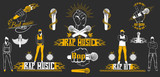 Vector set of logos for rap music style. Logo for t-shirts, musi - 119638469