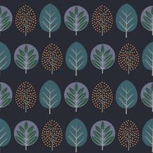Pozostawia bez szwu deseń. Dekoracyjne tło natura z drzew. Skandynawski styl jesienią ilustracji wektorowych lesie. Projektowanie dla przemysłu włókienniczego, tapety, tkaniny.
