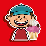 boy cup cake dessert vector illustration graphic