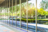 Fototapety trees and blue sky reflected on clean glass wall,china.
