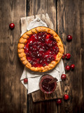 Cherry pie with jam